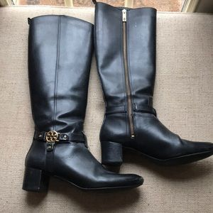 Tory Burch Tall black Leather Boots great shape 9M